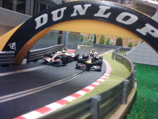 Racing under the bridge.