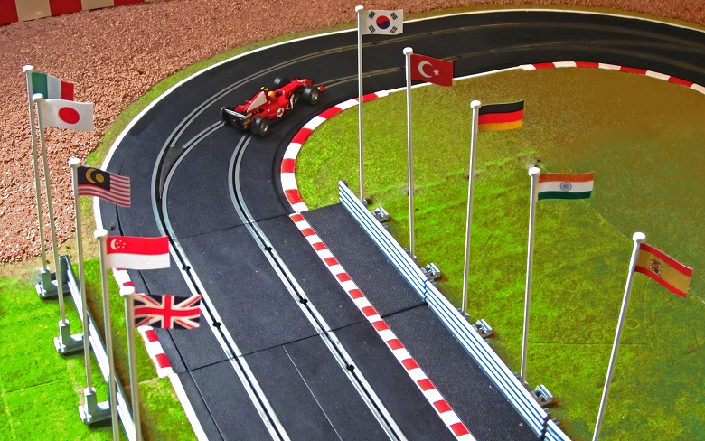 Slot car track flags